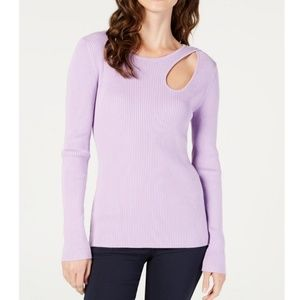 Lilac Cut Out Sweater Top.